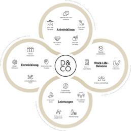 Grafik Benefits bei D&CO: Arbeitsklima, Worklife Balance, Entwicklung, Leistungen